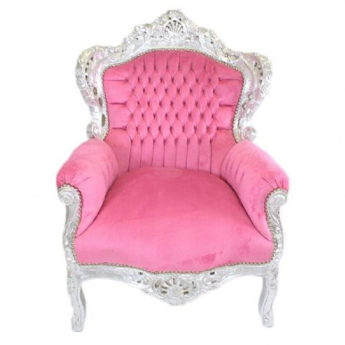 ARMCHAIR - BAROQUE STYLE ARMCHAIR SILVER & PINK # F30MB140